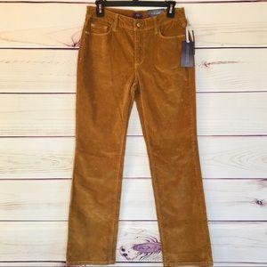 NYDJ Slimming Fit Straight Brown Corduroy Pants